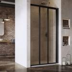 Dušo durys Ravak  ASDP3-130 198 cm. Juodu profiliu ir skaidriu stiklu