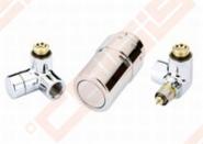 Uždarymo ventilis, termostatinis ventilis su išankstiniu nustatymu ir termostatinė galvutė (montuojama iš dešinės). Spalva - chromas.