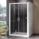 Dušo durys  Ravak 10DP4-140. Baltos spalvos profiliu ir skaidriu stiklu
