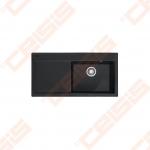 """Plautuvė FRANKE Mythos MTK611-100 su plačiu 3.1/2"""" ekscentriniu ventiliu, 2x35 mm išgręžtos skylės, dubuo dešinėje, tamsiai juodos (onyx) spalvos"""