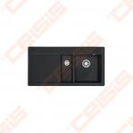 """Plautuvė FRANKE Mythos MTK651-100 su plačiu 3.1/2"""" ekscentriniu ventiliu, 2x35 mm išgręžtos skylės, dubuo dešinėje, tamsiai juodos (onyx) spalvos"""