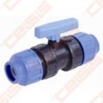 Plastikinis rutulinis ventilis PE vamzdžiui Dn20