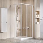 Dušo durys Ravak SRV2-90 195 cm. Baltos spalvos profiliu ir skaidriu stiklu