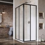 Dušo durys SRV2-90 S 195 juodos+stiklastransparent