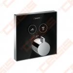 Dekoratyvinė dalis potinkiniam termostatiniam maišytuvui HANSGROHE Select 2t. Juodas stiklas
