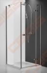 Varstomos dušo durys ROTH HITECH HORIZON PLUS HPOL1/90 su brillant spalvos profiliu ir skaidriu stiklu (kairė pusė)