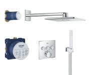 Termostatinė dušo sistema Grohe Grohtherm SmartControl Perfect su kvadratine galva