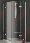 Pusapvalė dušo kabina RAVAK SMARTLINE SMSKK4-80 su chromo spalvos detalėm ir skaidriu stiklu