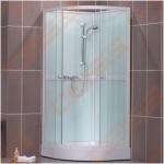Pusapvalis dušo boksas SANIPRO Simple 80x80 su padėklu ir sifonu, su baltos spalvos profiliu ir skaidriu stiklu
