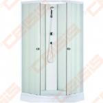 Pusapvalis dušo boksas SANIPRO Europa 90x90 su baltos spalvos profiliu ir matiniu stiklu