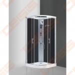 Pusapvalis masažinis dušo boksas SANIPRO Marocco Neo 90 su brilliant spalvos profiliu ir tamsintu stiklu