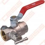 """Žalvarinis chromuotas (matinis) SLOVARM KE-261 rutulinis ventilis su nuorintuvu Dn1.1/4"""""""