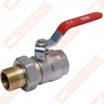 """Žalvarinis chromuotas (matinis) SLOVARM KE-281 rutulinis ventilis su išardoma jungtimi Dn1.1/4"""""""