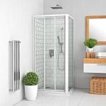Slankiojančios dušo durys Roth PD3N/1000 baltos spalvos profiliu, skaidriu stiklu. Skirtos montuoti į nišą arba derinti su šonine siena Roth LLBD. Instaliavimo dydis (y) 950–1005