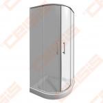 Pusapvalė dušo kabina JIKA LYRA PLUS 80x80 su baltos spalvos profiliu ir skaidriu stiklu (radius 550)