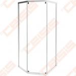 Priekinė dalis dušo bokso IDO Showerama 10-5,skaidriu stiklu, baltu profiliu. 90x90 cm.