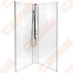 Galinė dalis dušo bokso IDO Showerama 10-5,skaidriu stiklu, baltu profiliu. 90x90 cm.