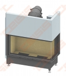 Plieninis židinio ugniakuras SCHMID EKKO R 100(45)57 H (1060 x 1380 x 530); 4,1-9,4kW, vientisas stiklas