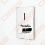 Bekontaktinio sienoje montuojamo termostatinio dušo maišytuvo su rankenėlėje įtaisytu temperatūros ribotuvu išorinė dekoratyvinė dalis ORAS Electra