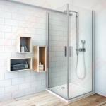 Vieno elemento varstomos dušo durys ROTH TOWER LINE TCO1/90 su brillant spalvos profiliu ir skaidriu stiklu