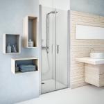 Vieno elemento varstomos dušo durys Roth TCN1/80, sidabro spalvos profiliu ir  intimaglas stiklu