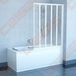 Penkių dalių sulankstoma vonios sienelė RAVAK VS5 114 su baltos spalvos profiliu ir plastiko Rain užpildu