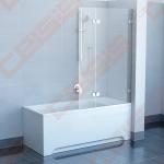 Sulankstoma dviejų dalių vonios sienelė RAVAK BVS2-100 su chromuotom detalėm ir skaidriu stiklu, dešinė pusė