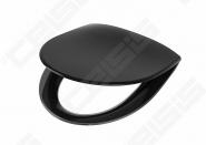 Ifö Spira kietas WC dangtis su chromuotais lankstais, juodos spalvos