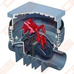 Automatinis atbulinis vožtuvas ACO montuojamas grindyse 1~230 V; ACO Quatrix - K dvigubas; Dn 110