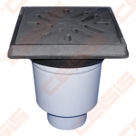 Vertikalus lauko trapas HL iš PP  260 x 260 mm su ketaus grotelėmis ir ketaus rėmu, mechaniniu kvapo uždoriu ir krepšeliu šiukšlėms, Dn110/160. Maks. Apkrova - 12,5 t.