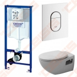 Komplektas: Grohe Rapid SL  1130x500 rėmas su tvirtinimu, WC mygtukas Grohe Arena Cosmopolitan, baltas dvigubas vertikalus, pakabinamas unitazas Duravit Colomba su lėtai nusileidžiančiu  plonu dangčiu