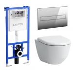 Komplektas LAUFEN: unitazas wc Pro New su dangčiu ir potinkinis rėmas LIS CW1 su mygtuku