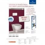 Komplektas VILLEROY&BOCH: pakabinamas unitazas O. Novo, potinkinis wc rėmas, nuleidimo mygtukas