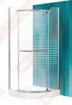 Pusapvalė dušo kabina SANIPRO AUSTIN 80x80 su sidabro spalvos profiliu ir dekoruotu stiklu