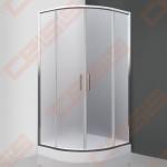 Pusapvalė dušo kabina SANIPRO Houston Neo 80x80 su dviejų elementų slankiojančiomis durimis bei brilliant spalvos profiliu ir matiniu stiklu