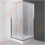 Kvadratinė dušo kabina SANIPRO Orlando Neo 80x80 su dviejų elementų slankiojančiomis durimis bei brilliant spalvos profiliu ir matiniu stiklu