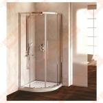 Pusapvalė dušo kabina IDEAL STANDARD Kubo R Quadrant 80x80 cm su sidabro spalvos profiliu ir skaidriu stiklu (radius 550)
