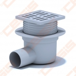 Plastikinis trapas ANI PLAST su nerūdijančio plieno grotelėmis ir rėmeliu 120x120 mm, horizontaliu išbėgimu Dn50. Maks. apkrova 300 kg, sausas