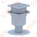 Plastikinis trapas ANI PLAST su nerūdijančio plieno grotelėmis ir rėmeliu 100x100 mm, vertikaliu išbėgimu Dn50. Maks. apkrova 300 kg, sausas