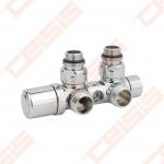 """Termostatinis kampinis ventilis (spalva: blizgus chromas) CARLO POLETTI V421; Išorė / Išorė; 1/2"""" x 3/4"""" EK"""