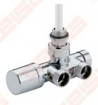 Chromuotas (blizgus) kampinis vožtuvas vienvamzdei / dvivamzdei sistemoms; prijungimo atstumas 50 mm