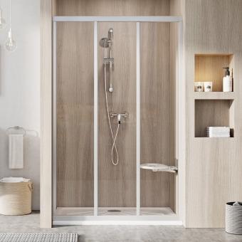 Dušo durys Ravak ASDP3-90 198 198 cm. Satino profiliu ir skaidriu stiklu