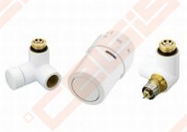 Uždarymo ventilis, termostatinis ventilis su išankstiniu nustatymu ir termostatinė galvutė (montuojama iš dešinės). Spalva - RAL9016
