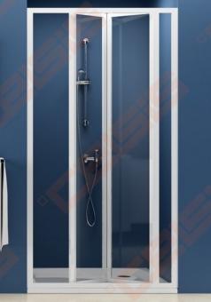Lankstomos dušo durys RAVAK SUPERNOVA SDZ3-90 su baltos spalvos profiliu ir dekoruotu plastiko Pearl užpildu