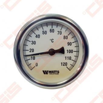 """Bimetalinis termometras WATTS F+R801 OR; Ø63; Dn1/2""""; tMaks.120°C (Gilzės matmenys 50mm x Ø9mm)"""