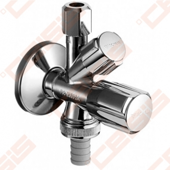 "Žalvariniss chromuotas (blizgus) SCHELL kombinuotas ventilis su veržle Dn1/2"" x Ø10"