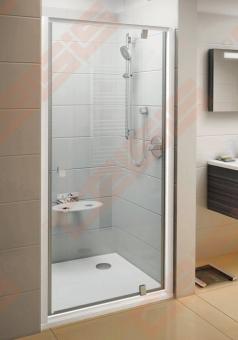 Varstomos dušo durys RAVAK PIVOT PDOP1-80 su baltos spalvos rėmu ir chromo spalvos rankenėlėmis bei skaidriu stiklu