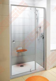 Varstomos dušo durys RAVAK PIVOT PDOP2-110 su baltos spalvos rėmu ir chromo spalvos rankenėlėmis bei skaidriu stiklu