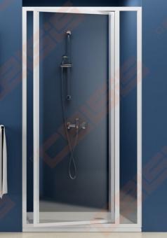 Varstomos dušo durys RAVAK SUPERNOVA SDOP-80 su baltos spalvos profiliu ir dekoruotu plastiko Pearl užpildu