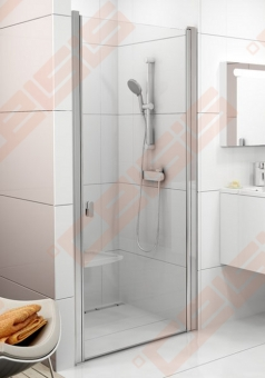 Varstomos dušo durys RAVAK CHROME CSD1-90 su balta apdaila ir skaidriu stiklu